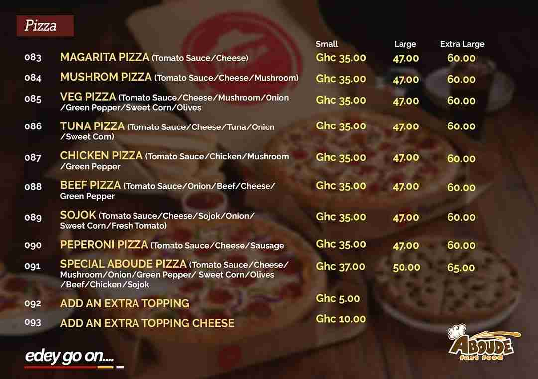 Aboude Pizza Prices